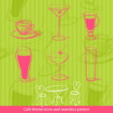 Cafe icons and seamless pattern, vector Royalty Free Stock Photography