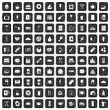 100 cafe icons set black. 100 cafe icons set in black color isolated vector illustration vector illustration