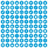 100 cafe icons set blue. 100 cafe icons set in blue hexagon isolated vector illustration Royalty Free Stock Photos