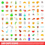 100 cafe icons set, cartoon style. 100 cafe icons set in cartoon style for any design vector illustration Royalty Free Stock Photo