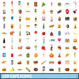 100 cafe icons set, cartoon style. 100 cafe icons set in cartoon style for any design vector illustration Royalty Free Stock Images