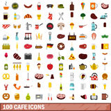 100 cafe icons set, flat style Stock Photography