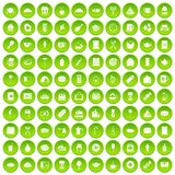 100 cafe icons set green circle. Isolated on white background vector illustration Stock Photos