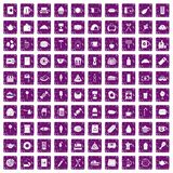 100 cafe icons set grunge purple. 100 cafe icons set in grunge style purple color isolated on white background vector illustration Stock Photo