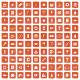 100 cafe icons set grunge orange. 100 cafe icons set in grunge style orange color isolated on white background vector illustration Royalty Free Stock Images