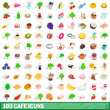 100 cafe icons set, isometric 3d style Royalty Free Stock Photo