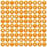 100 cafe icons set orange. 100 cafe icons set in orange circle isolated on white vector illustration Royalty Free Stock Images