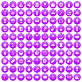 100 cafe icons set purple. 100 cafe icons set in purple circle isolated on white vector illustration Stock Illustration