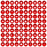 100 cafe icons set red. 100 cafe icons set in red circle isolated on white vector illustration Royalty Free Stock Photo