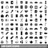 100 cafe icons set, simple style Stock Photos