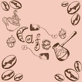 Cafe. Inscription cafe with a pattern of coffee beans, cups, cake, croissant, Turks, tea bags Stock Photos