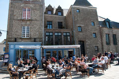 Cafe Inside Walled City of Guérande, France Stock Photo