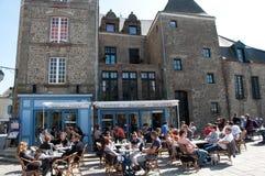 Cafe Inside Walled City of Guérande, France Stock Photo