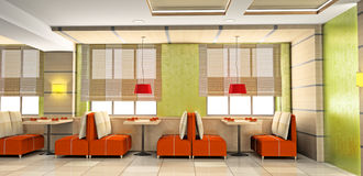 Cafe interior 3D Royalty Free Stock Photo