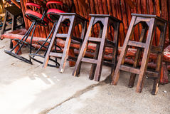 Cafe interior - bar chairs outdoors Royalty Free Stock Images