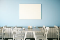 Cafe interior with blank poster Royalty Free Stock Photos