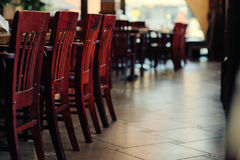 Cafe interior. Chairs in a cafe interior stock photo