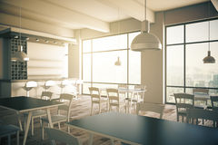 Cafe interior. Furnished cafe interior with two panoramic windows. 3D Render Stock Photos