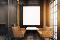 Cafe interior with grate and beige sofas, toned royalty free stock photography