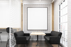 Cafe interior with grate and black sofas vector illustration
