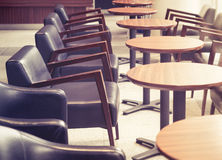 Cafe Interior with Tables and Chairs in Retro Bar Restaurant Stock Photo