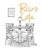 Cafe interior. Vector hand drawn illustration. Ink sketch. Black on white. Retro cafe Stock Photography