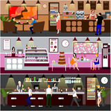 Cafe interior vector illustration. Design of coffee shop, bakery, restaurant and bar. People in cafe cartoon flat style. Royalty Free Stock Image