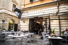 Cafe just off the designer street the Condotti in Rome Italy. Rome Italy, the Eternal city, which has been a destination for tourists since the times of the Royalty Free Stock Images