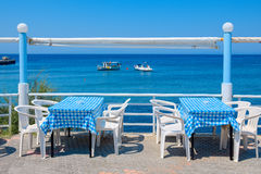 Cafe in Kamiros Skala. Rhodes, Greece Royalty Free Stock Photography