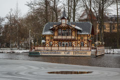 Cafe on the lake in winter Stock Image