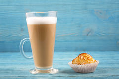 Cafe latte and cake Stock Photo