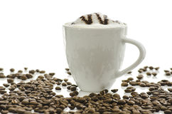 Cafe latte with coffee beans Royalty Free Stock Photography
