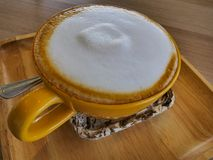 Cafe latte in coffee cup. stock photo