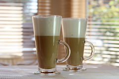 Cafe Latte in a tall glass Stock Photography