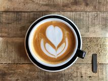 Cafe latte time over wood Stock Photography