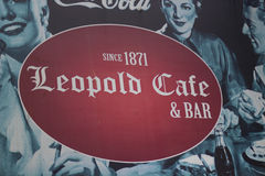 Cafe Leopold board. At Colaba causeway in Mumbai Royalty Free Stock Image