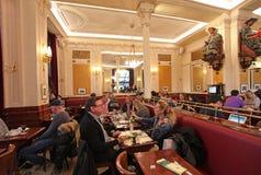 Cafe Les Deux Magots, Paris. Famous Cafe Les Deux Magots in Saint-Germain-des-Prés area of Paris. France. November 2014 Stock Images