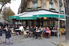 Cafe Les Deux Magots, Paris. Famous Cafe Les Deux Magots in Saint-Germain-des-Prés area of Paris. France. November 2014 Royalty Free Stock Image