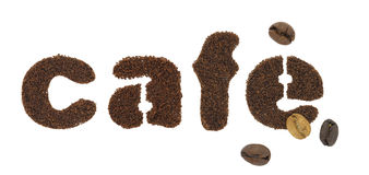 Cafe letters. Cafe word made of coffee grains Royalty Free Stock Photos