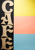 Cafe letters at colorful paper Royalty Free Stock Images
