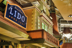 Cafe Lido Tallinn. Cafe interior with turrets and houses Royalty Free Stock Images
