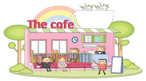 Cafe line character Royalty Free Stock Photography
