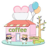 Cafe line character Royalty Free Stock Image