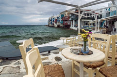 Cafe of Little Venice in Mykonos Stock Photography