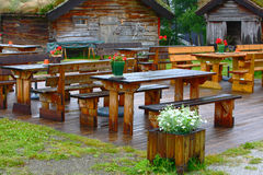 Cafe and log cabin Royalty Free Stock Images