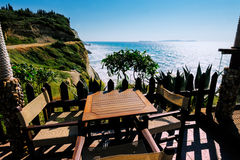 Cafe on Logas Sunset beach, Perulades, Corfu Stock Images