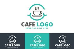 Cafe Logo Design Isolated on White Background. You can edit it any editing software royalty free illustration