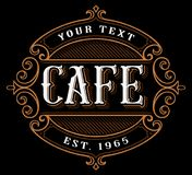 Cafe logo design. Vintage lettering of catering on dark background. All objects, text are on the separate groups stock illustration