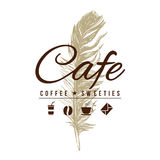 Cafe logo in vintage style. Over hand drawn feather. Vector illustration vector illustration