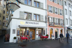 Cafe in Lucerne, Switzerland. Royalty Free Stock Image